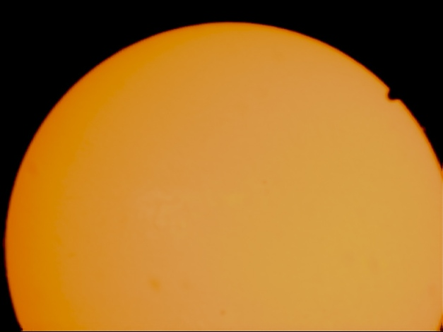 Date: 06.06.2012 Location: Fornebu, Bærum, NO Optics: Lunt LS35THa 400mm f11,4 Camera: Celestron NexImage CCD Exposure: ca 500 frames Postprocessing: Registax 6, Photoshop CS5 Comment: Venus passing the sun. The picture is taken during the Venus passage in 2012.